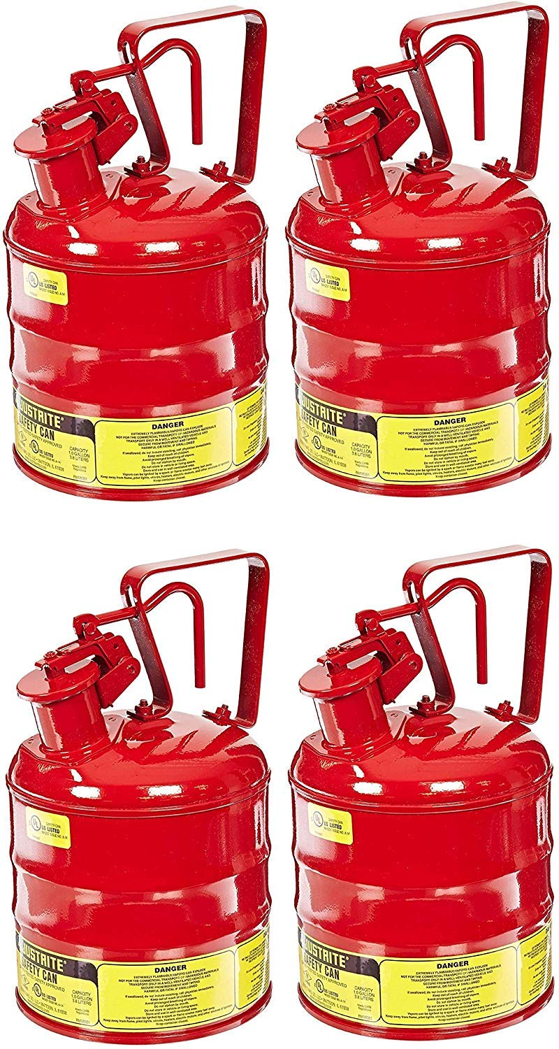 Justrite 10301 Type I Steel Flammables Safety Can, 4L Capacity, Red (Pack of 4)