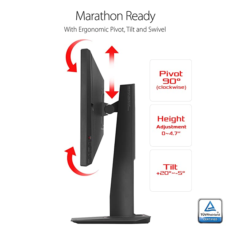 The monitor can pivot 90 degrees clockwise, tilt within +20 and -5 degrees, and adjust in height up to 4.7 inches