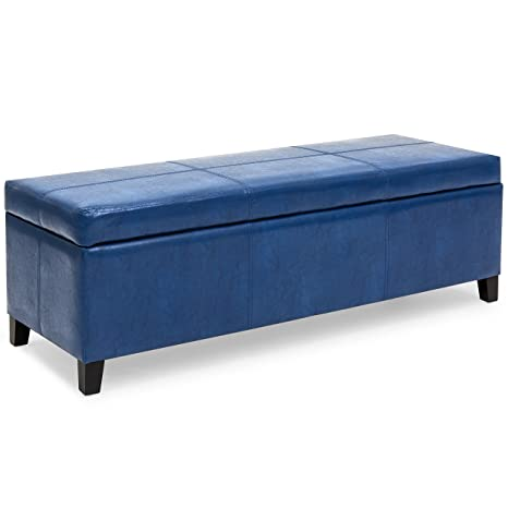 Best Choice Products 52in Faux Leather Upholstered Ottoman Coffee Table  Bench Chest for Living Room, Bedroom, Entryway w/Wooden Frame, Blue