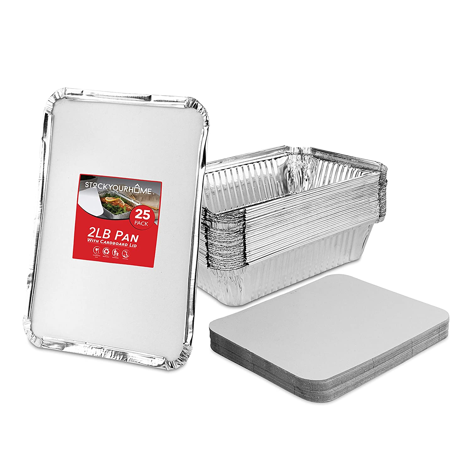 Stock Your Home 2 Lb Aluminum Pans with Lids (25 Pack) - Food Containers with Cardboard Lids - Disposable & Recyclable Takeout Trays with Lids - to Go Containers for Restaurants, Catering, Delis