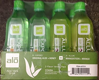 ALO Aloe Vera Drink Original 6 Aloe and Honey 6 Mongosteen and Mango