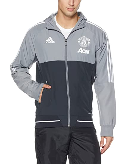 d5c6820f Amazon.com : adidas 2017-2018 Man Utd Presentation Jacket (Grey ...