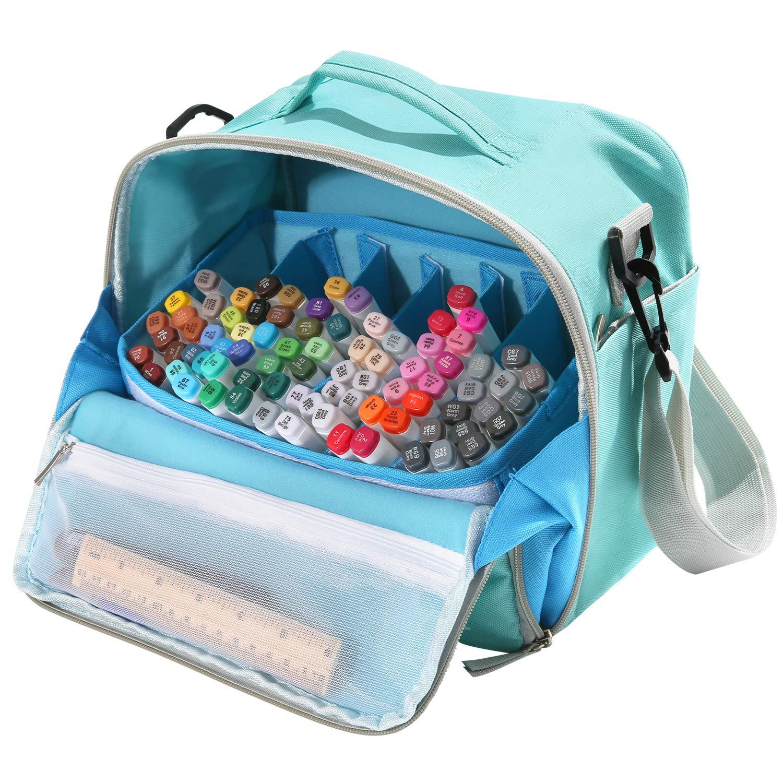 Togood, borsa contenitore per pennarelli, penne, pennelli, matite, libri da colorare, articoli per arte e artigianato, attrezzi, cosmetici, fino a 130 penne Light Blue 4336939780