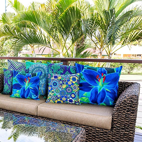 Cojín Decorativo Sunburst Outdoor Living 60cm x 60cm FAIRY Funda Cojín para Sillón, Sofá, Cama o Patio - Solo Funda, Sin Relleno: Amazon.es: Hogar