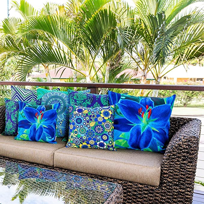 Cojín Decorativo Sunburst Outdoor Living 60cm x 60cm FAIRY Funda Cojín para Sillón, Sofá, Cama o Patio – Solo Funda, Sin Relleno