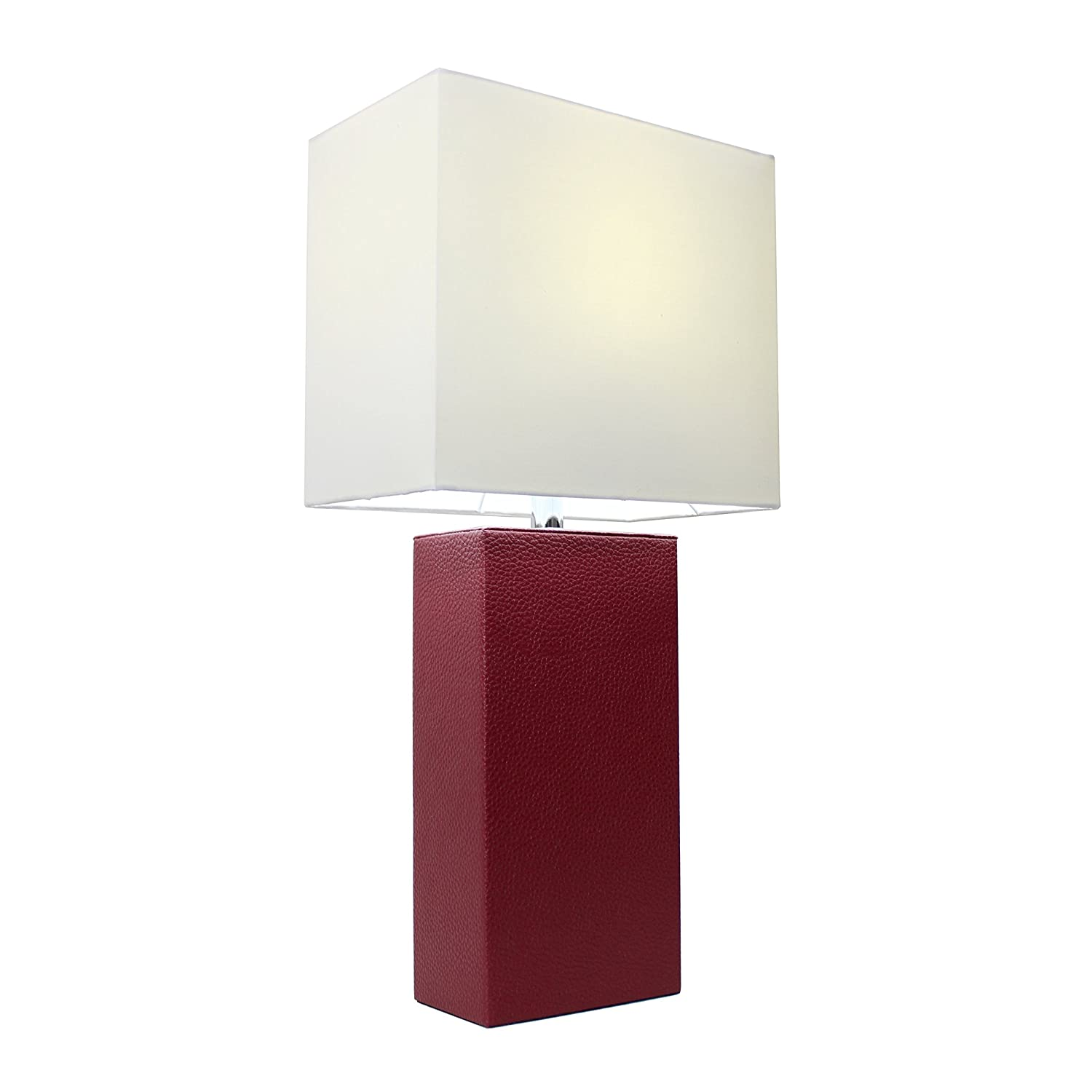 Elegant Designs LT1025-RED Modern Leather White Fabric Shade Table Lamp, Red