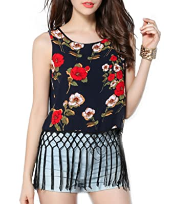 53a97604a0e2 EASTHER Womens Reversible Casual V Neck Strappy Chiffon Cami Blouse Loose  Tank Tops at Amazon Women s Clothing store