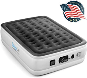 """SereneLife Raised Self 8"""" Elevated Mattress with Built-in Pump-Durable Automatic Electric Inflation Blow Up Air Bed W/Soft, Plush Flocking, Full, SLABFL60"""