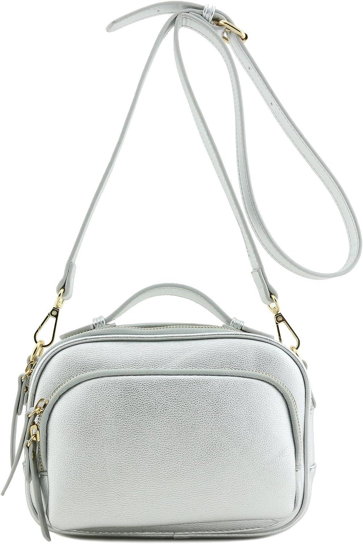 Top Handle Satchel Tote Bag Crossbody Purse Silver