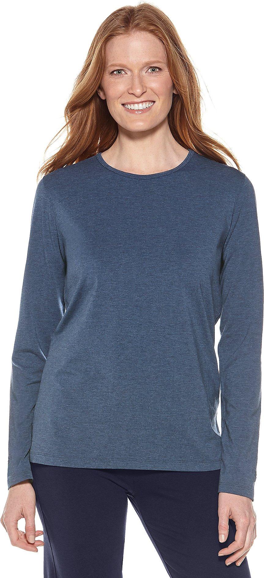 Coolibar UPF 50+ Women's Long Sleeve Everyday T-Shirt - Sun Protective (Large- Denim Blue Heather)