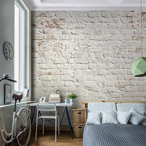 Fototapete Ziegelmauer 3D Beige Vlies Wand Tapete Wohnzimmer ...