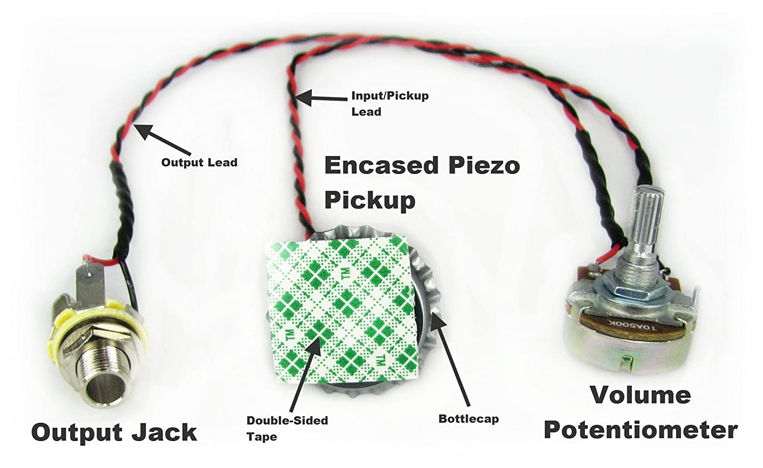 Cigar Box Guitar Parts Cap O Tone Pre Wired Bottle Help Wiring For A Single Pick Up And Volume Photos Piezo Pickup Harness With Control Musical Instruments