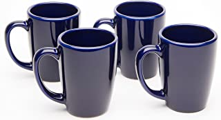 product image for American Mug Pottery Ceramic Bistro Style Coffee Mug, Made in USA, Cobalt Blue, 14 oz - Pack of 4