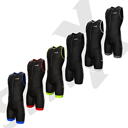 Trisuit Swim-Bike-Run SPARX Mens Performance Triathlon Suit Race Tri Suit 2 Pockets UV Protective Italian Fabric