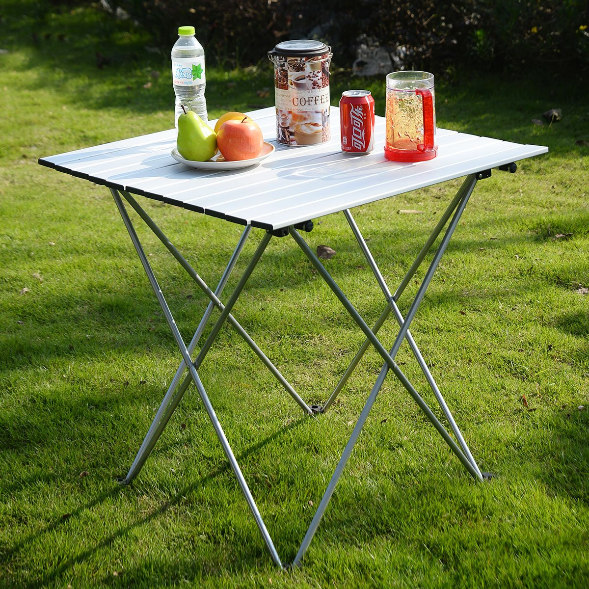 New Aluminum Roll Up Table Folding Camping Outdoor Indoor Picnic W/ Bag Heavy Duty