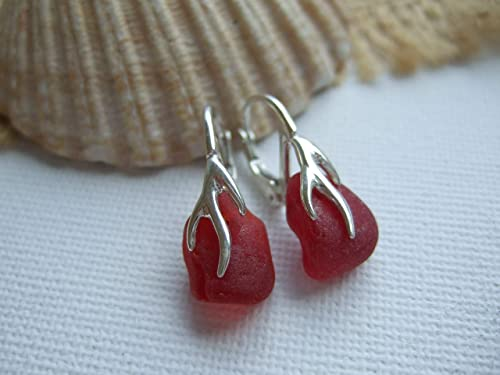 Sterling Silver Leverback Coral Design Studs with White Beach Glass Sea Glass Earrings