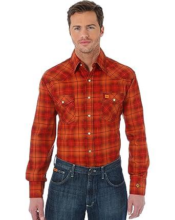 66a184262739 Wrangler Men s 20X Orange Plaid Fr Long Sleeve Western Shirt Orange Small
