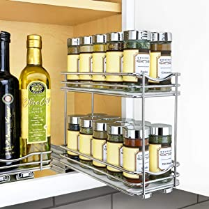 "Lynk Professional 430422DS Slide Out Double Spice Rack Upper Cabinet Organizer-4-inch, 4"" Wide, Chrome"