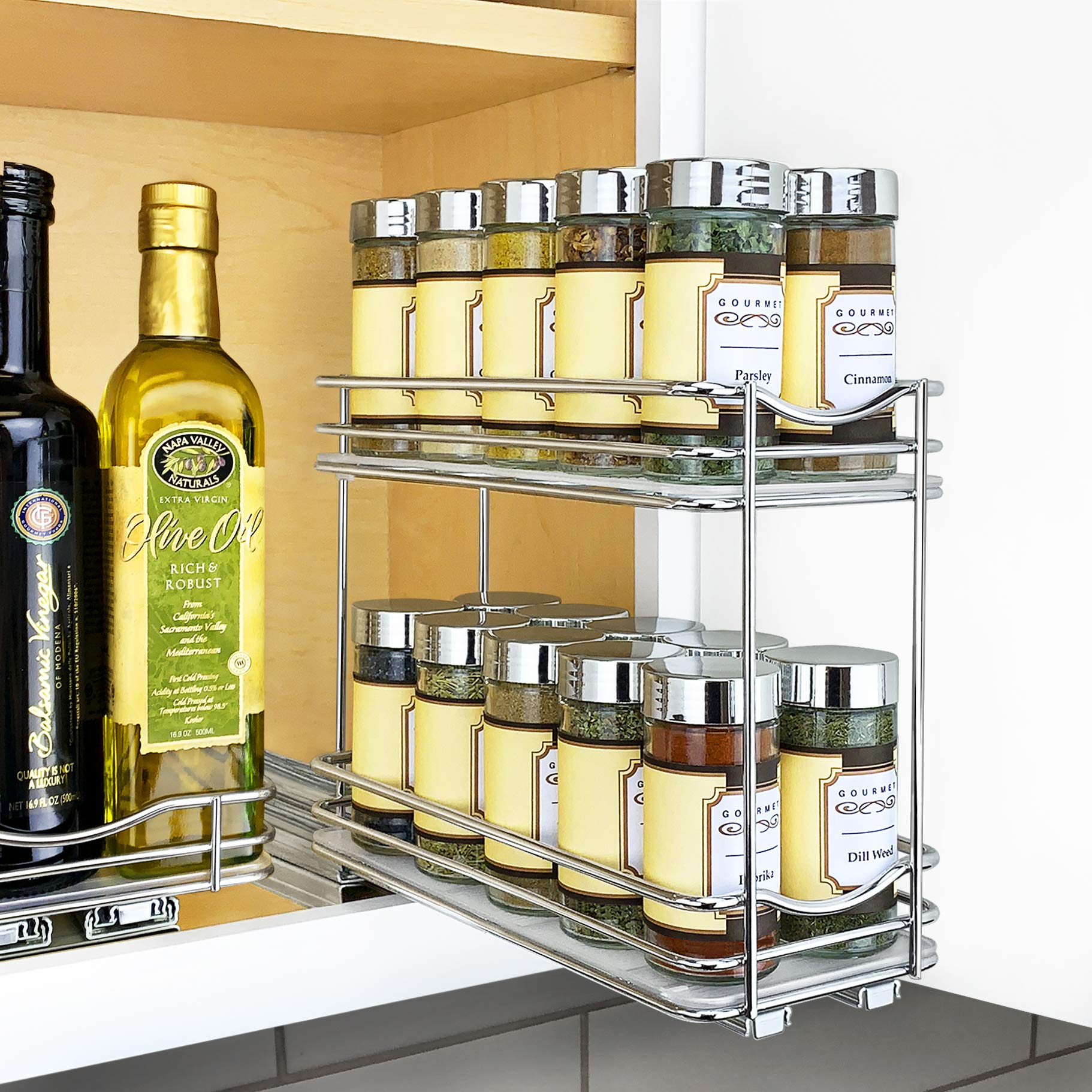Lynk Professional 430422DS Slide Out Spice Rack Double Cabinet Organizer, 4'' Wide, Chrome by Lynk