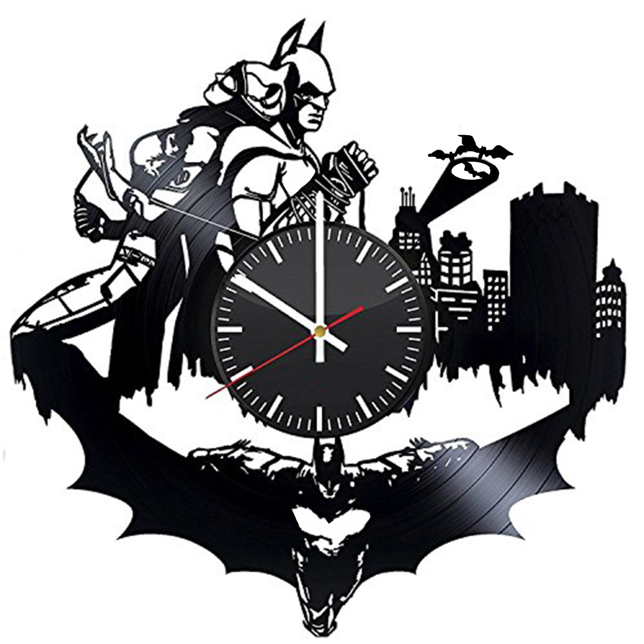 Welcome Everyday Arts Batman And Catwoman Vinyl Record Wall Clock - Get unique bedroom or bathroom wall decor - Gift ideas for boys and girls – DC Comics Legends Unique Modern Art Design