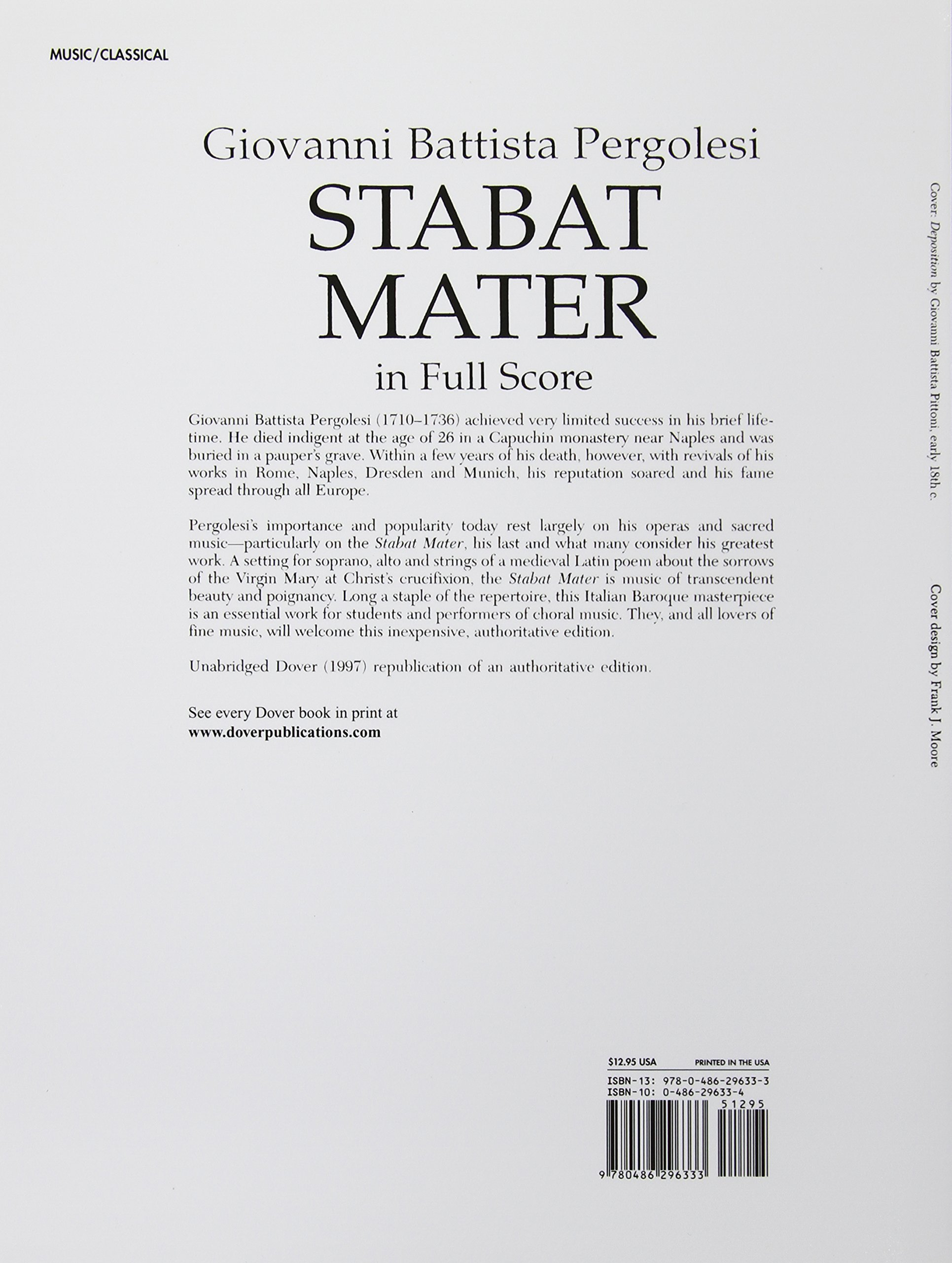 Stabat mater in full score dover music scores giovanni battista stabat mater in full score dover music scores giovanni battista pergolesi opera and choral scores 0800759296330 amazon books fandeluxe Choice Image
