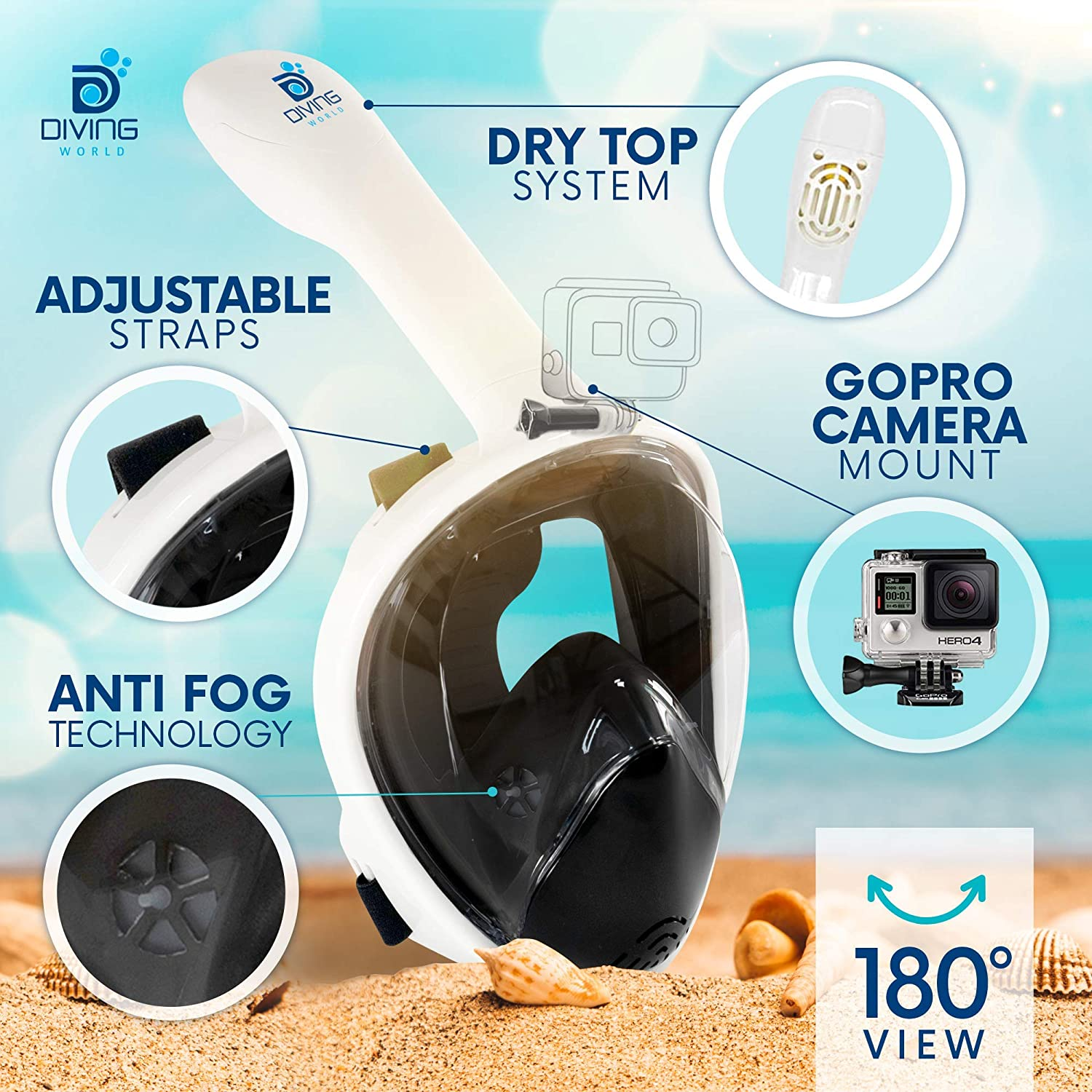 Improved Masks Snorkeling Mask for Adults /& Kids Anti Fog Tech Dive /& Snorkel EBook /… Incredible 180/° Underwater Experience Dry Top DIVING WORLD Full Face Snorkel Mask Go Pro Camera Mount