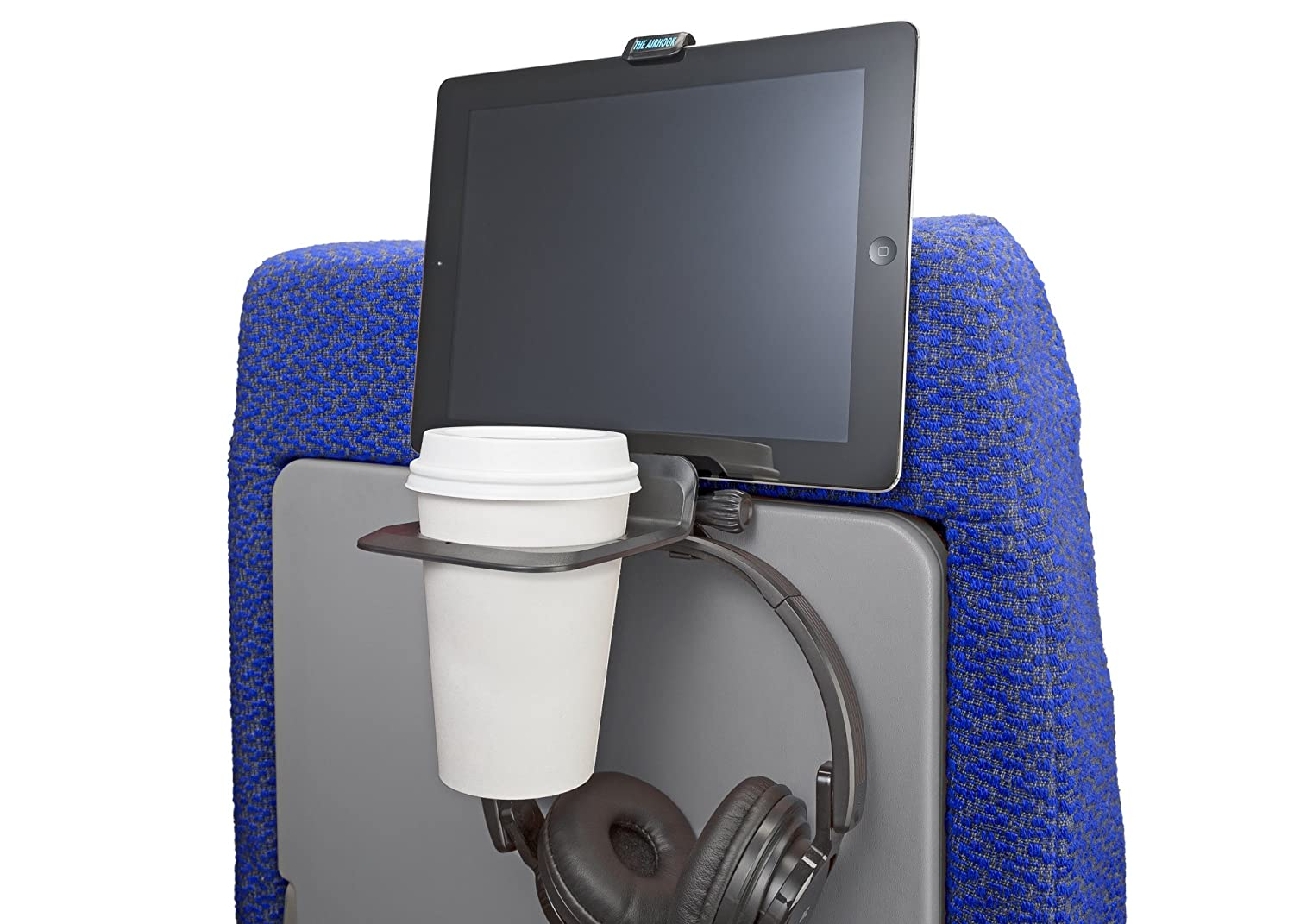 The Airhook Air Travel Cup and Electronics Device Holder