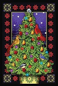 Toland Home Garden Cardinal Decorations 12.5 x 18 Inch Decorative Bird Christmas Tree Garden Flag - 1110556