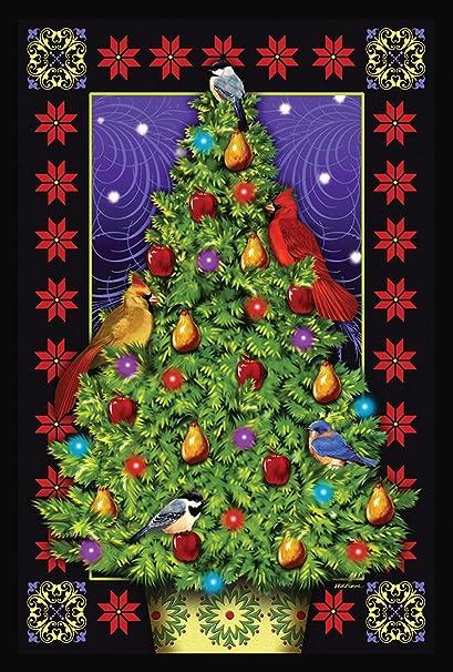 toland home garden cardinal decorations 28 x 40 inch decorative bird christmas tree house flag - Outdoor Christmas Tree Decorations For Birds
