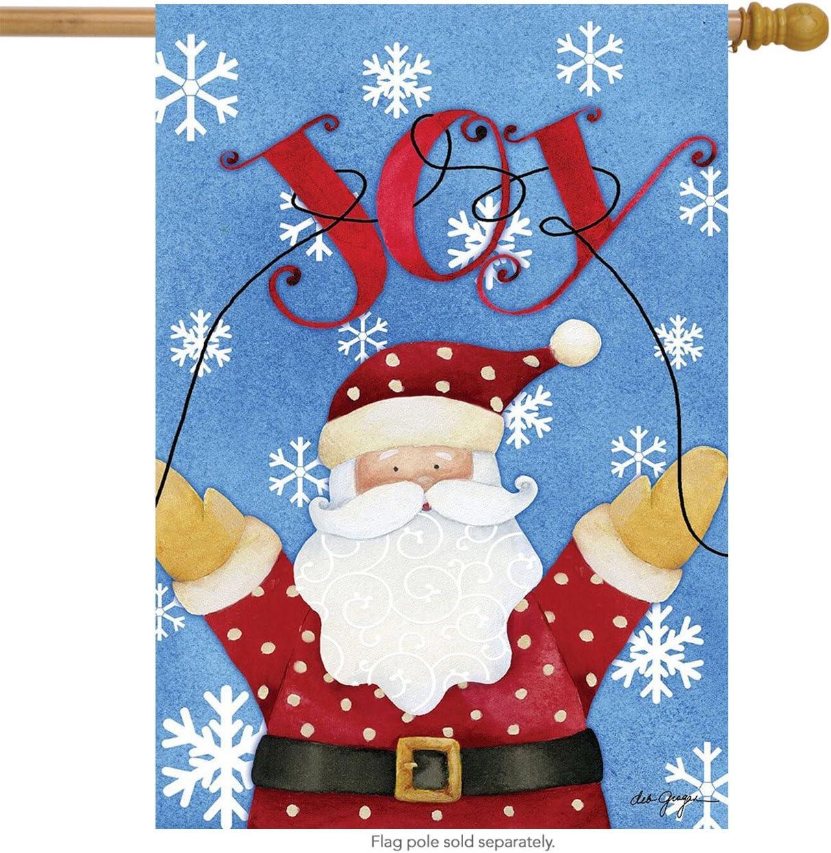 Briarwood Lane Joy Santa Christmas House Flag Snowflakes 28