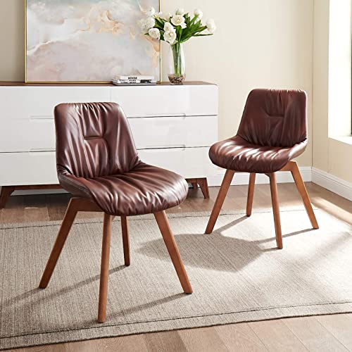 Volans Mid Century Modern Faux Leather Upholstered Swivel Dining Chair