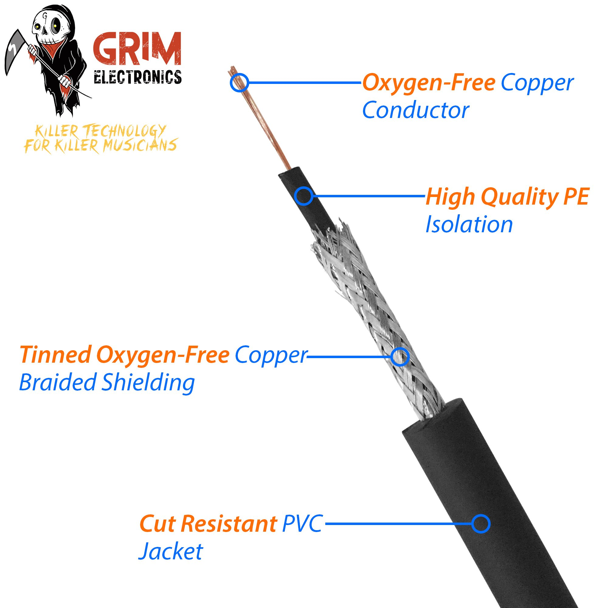 Grim Electronics Guitar Cable 10 ft. Premium Durable Instrument Cable For Guitar, Bass, Keyboard, Ukulele, Recording, Performance, Amp Cord & More - Professional 1/4 Inch 24kt Gold Connectors by Grim Electronics (Image #5)