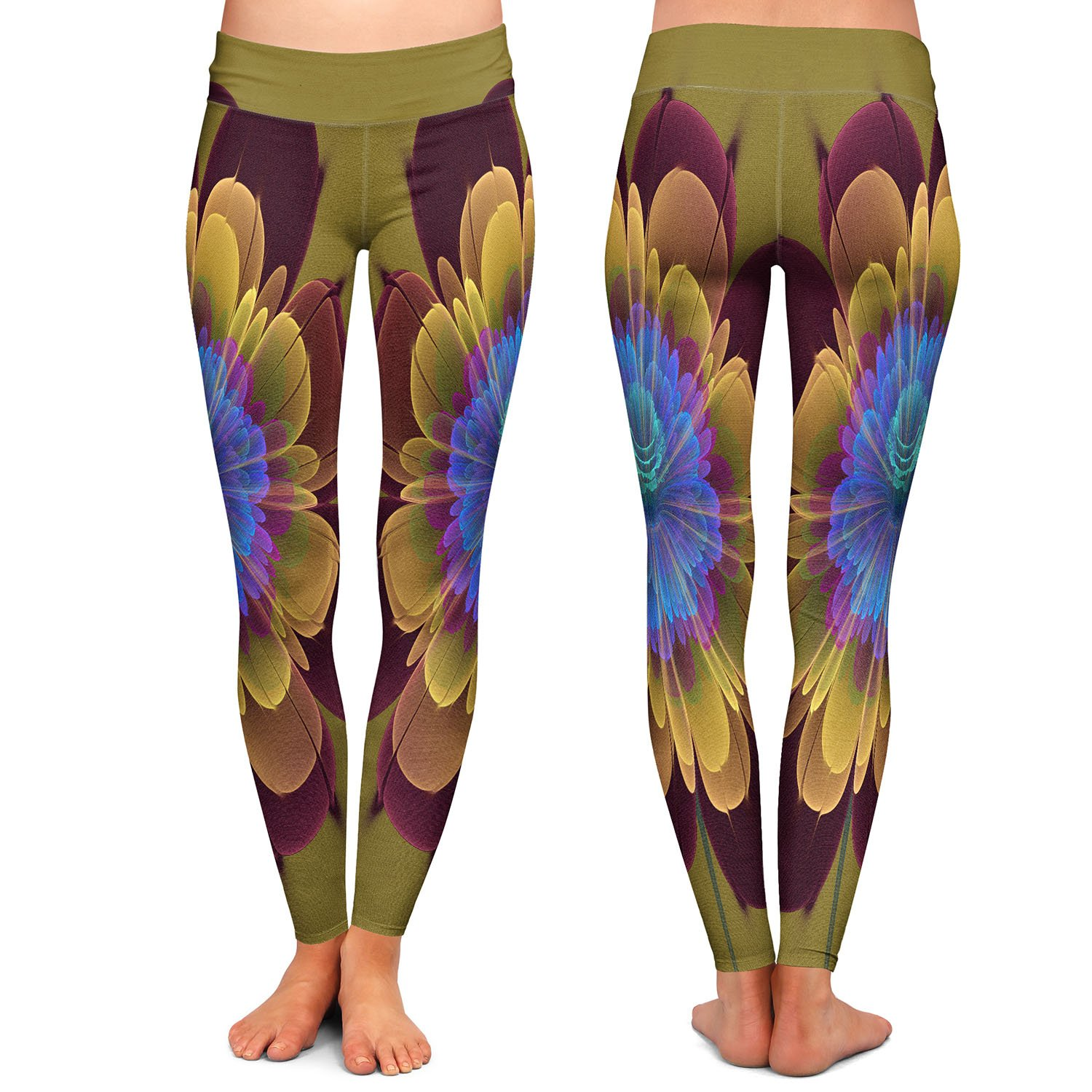 Athletic Yoga Leggings from DiaNoche Designs by Pam Amos Ghost Flower Red Olive