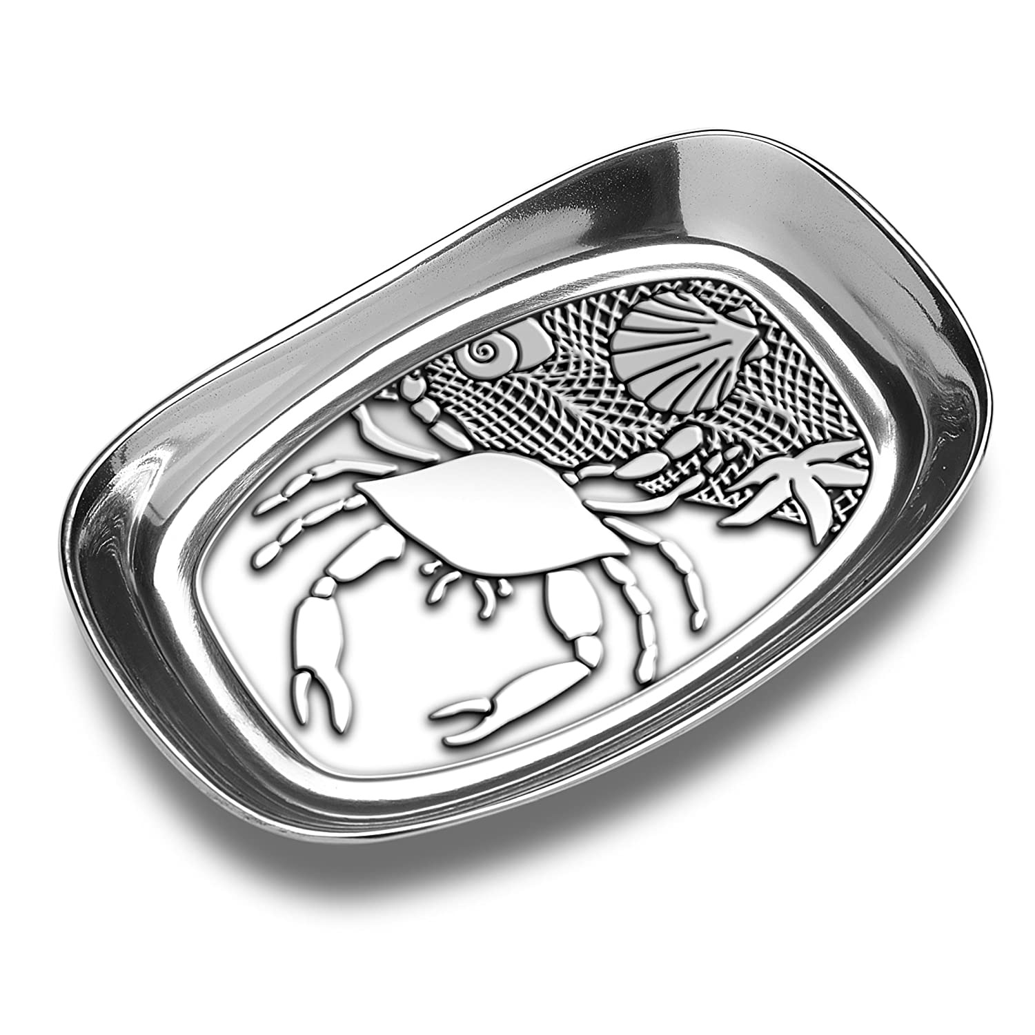 Coastal Christmas Tablescape Décor - Crab and seashell silver aluminum alloy bread serving tray by Designer Wilton Armetale