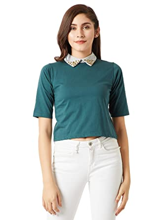 60b4217ea5f Miss Chase Women's Green Cotton Collared Crop Top (MCAW18TP11-54-48-02
