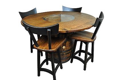 Amazoncom Rustic Whiskey Barrel Table Bar Table Set Of 4 Swivel