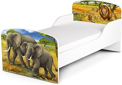 Leomark Cama Infantil Completa de Madera - Leones y Elefantes ...