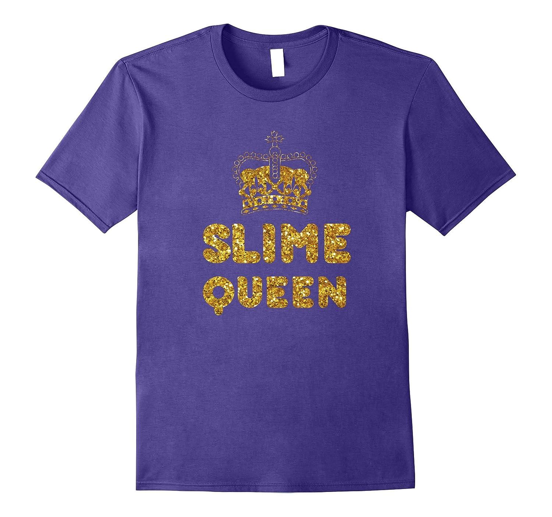 Kids Slime Tshirts, Slime Queen T Shirt, Gold Glitter Print-FL