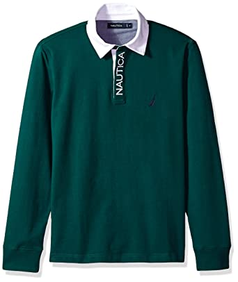 1d367edc Nautica Men's Solid Heavy Jersey Long Sleeve Polo Shirt, Tidal Green, X- Large