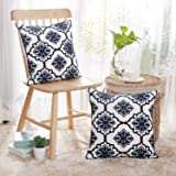 Deconovo Christmas Cushion Cover Cotton Canvas Snow Flake Pattern Cushion Covers for Living Room Decoration Navy Blue and White 18x18 Inch Set of 2 No Pillow Insert