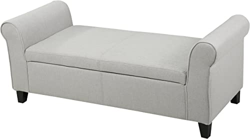 Padded Fabric Coffee Table Storage Ottoman Works Great in a Living Room, Family Room or Entry Way Setting Light Grey