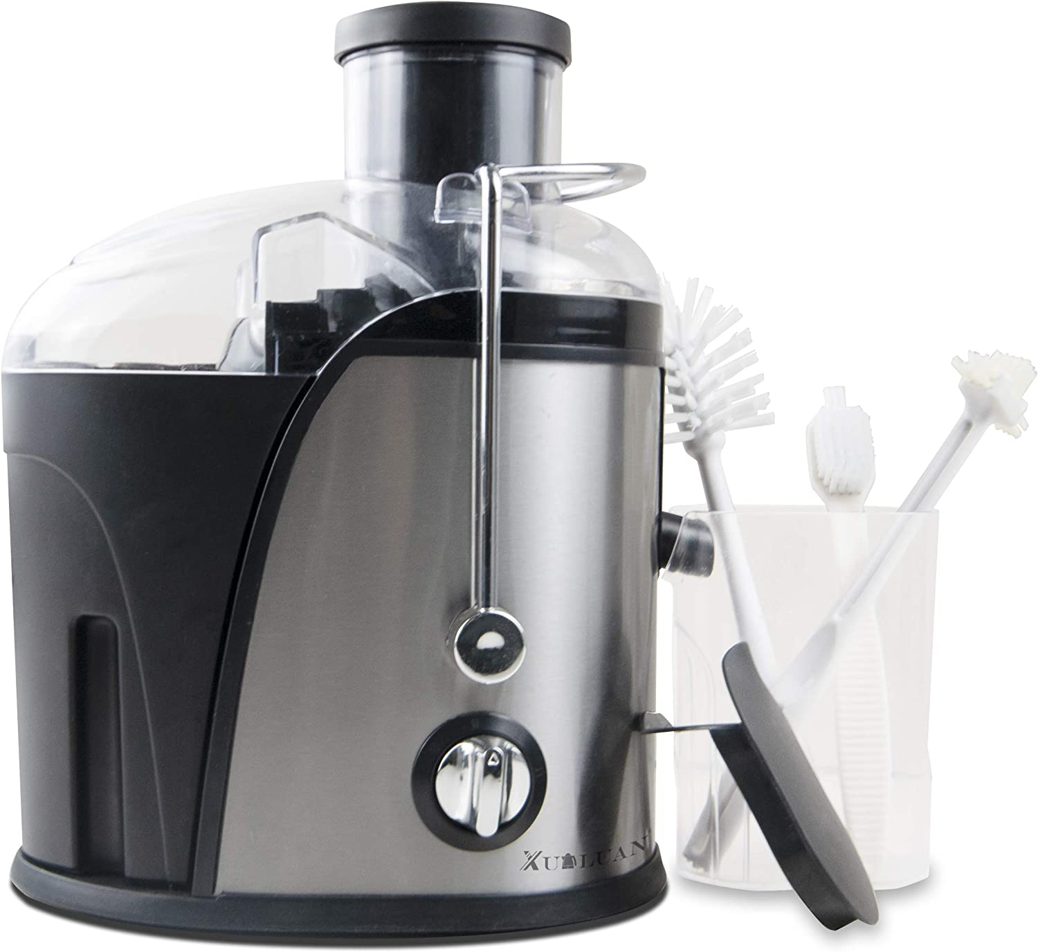 XUALUAN Masticating Juicer Machines and 3 pcs Cleaning Brush - 3 Speed Extractor for 95% High Juice Yield - 400W Energy Saving Juicer and Easy to Clean - Suitable for Fruits and Vegetables