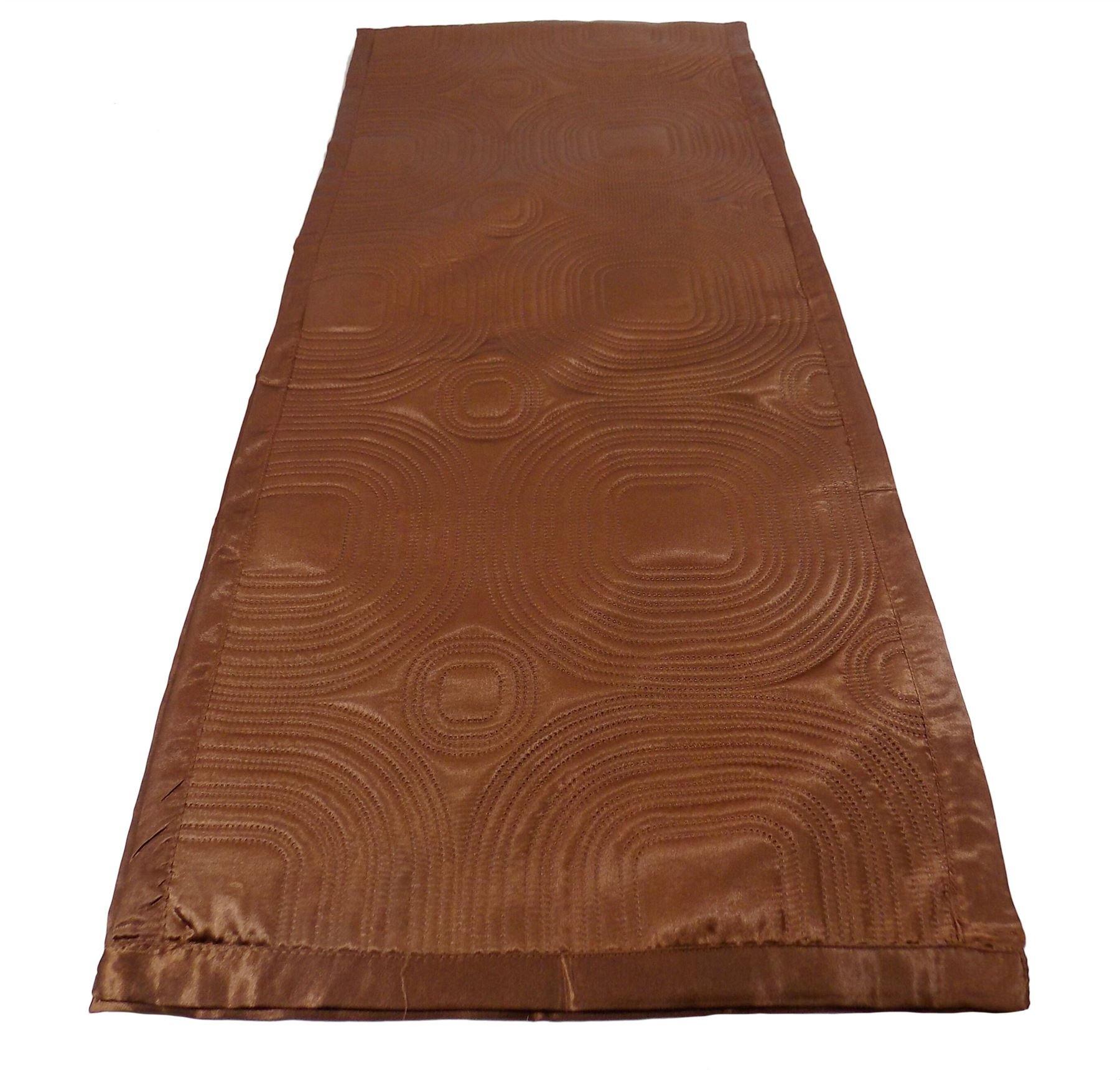 LUXURIOUS CHOCOLATE BROWN SATIN EMBOSSED LONG BEDROOM BED RUNNER 45 X 220CM - 18'' X 86''