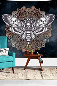Dead Head Hawk Moth Wall Tapestry with Mandala Vintage White Skull Illustration Tapestry Blanket Mysterious Sky Wall Art Home Decor BedHead (60x60inches 152.4x152.4CM) SILS448