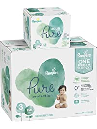 Pampers Pure Protection Diapers Size 3 168 Count with Aqua Pure 6X Pop-Top Sensitive Water Baby Wipes - 336 Count