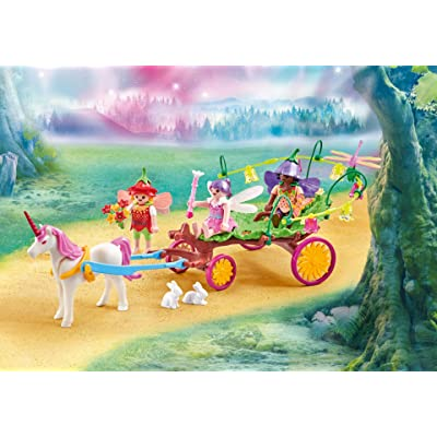 Playmobil 9823 Add-On Children Fairies with Unicorn Carriage: Toys & Games