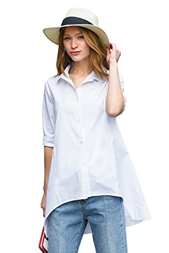 you.u Mujeres Azulsa Larga Irregular Irregular, Regular Fit, Camisa con Botones