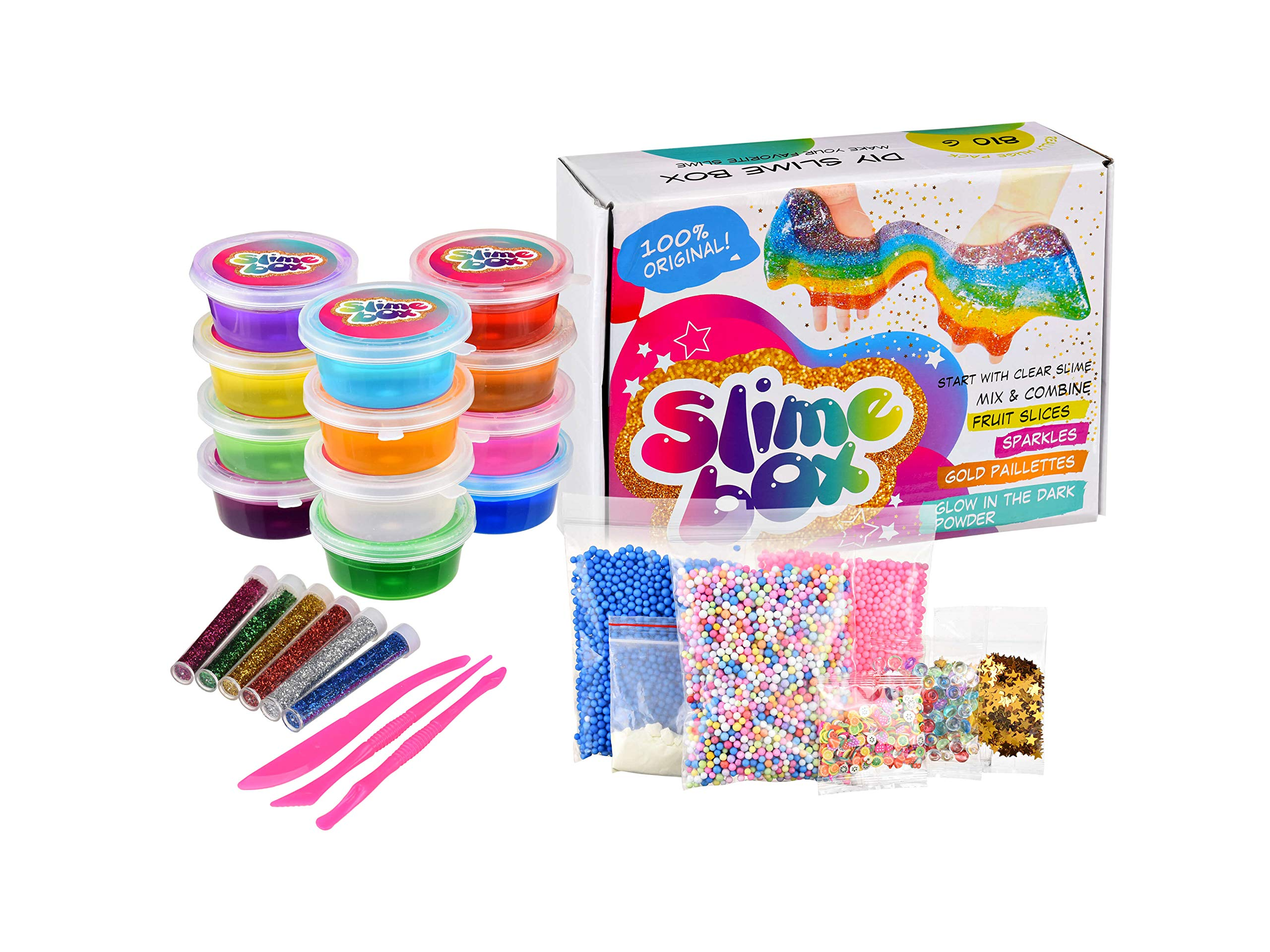Slime Kit Supplies Fluffy DIY 12 Clear Colors 250 Fruit Slices Girls Toys  Fishbowl Unicorn Glitter Pack Foam Beads Balls for Kids 94d7305073