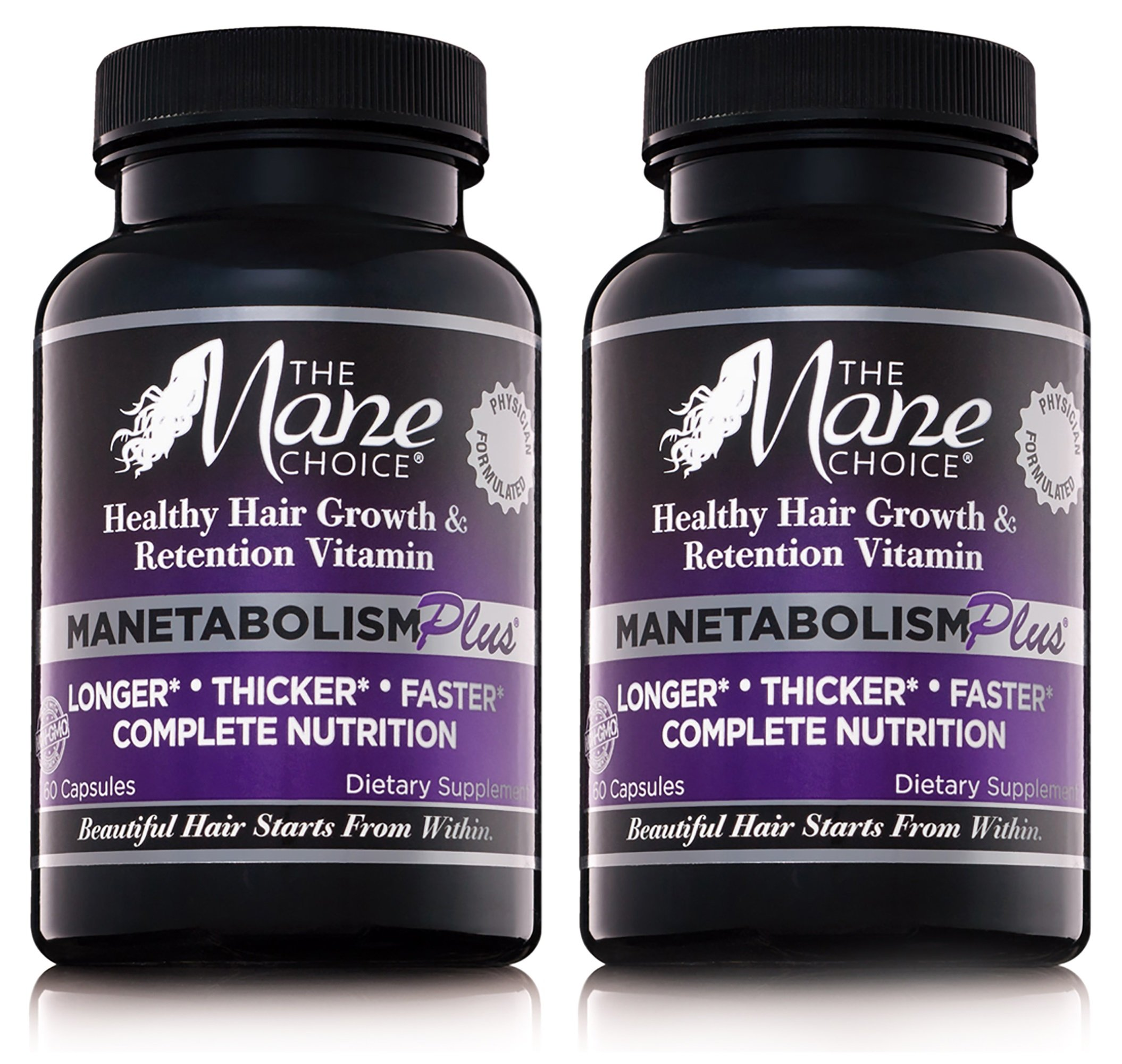 The Mane Choice MANETABOLISM Plus Healthy Hair Growth Vitamins - Complete Nutrition Supplements for Longer, Thicker and Healthier Hair (60 Capsules - Pack of Two)