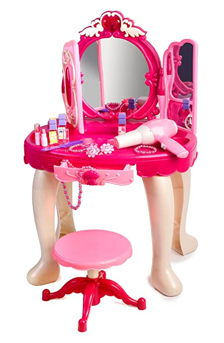 Exceptional Pink Princess Make Up Vanity Table For Little Girls With Sound And Light